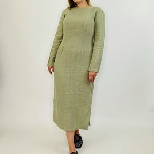 Cut Loose Lagenlook Boho Linen Green Maxi Dress